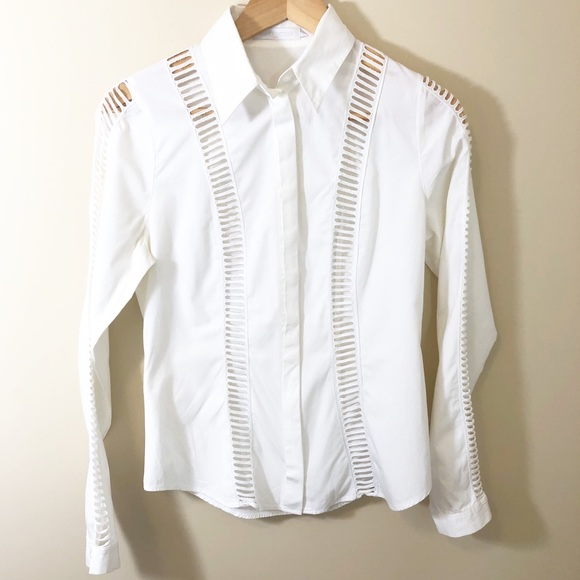 a2ad5a36 Anne Fontaine Tops | Poplin White Blouse Cutout Detail | Poshmark